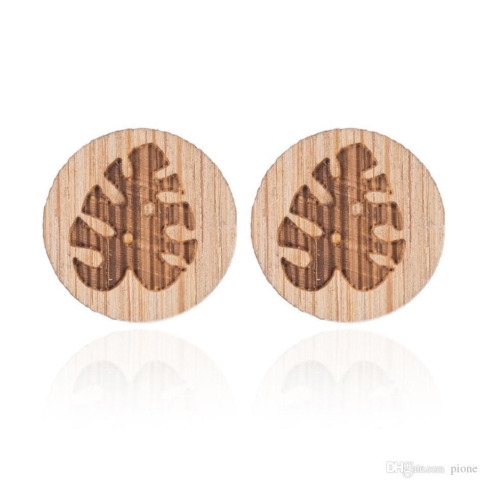 82570a78d81 Aretes de madera libres de alergias Hojas de palmeras tropicales Moda  pendientes de madera creativos de alta calidad NY-001
