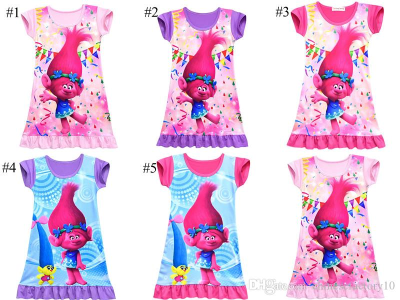 0946b1507 2018 Girls Summer Trolls Pajamas Dress Kids Cotton Short Sleeve Dress  Sleepwear Children Cartoon Summer Night Skirts 5 Colors