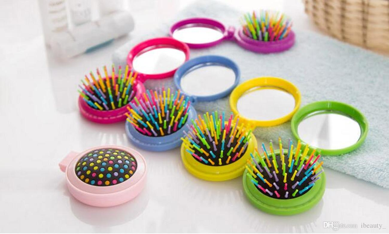 New Makeup Comb Hair Brush Pro Styling Tool Portable Mini Folding Comb Airbag Massage Round Travel Hair Brush with Mirror
