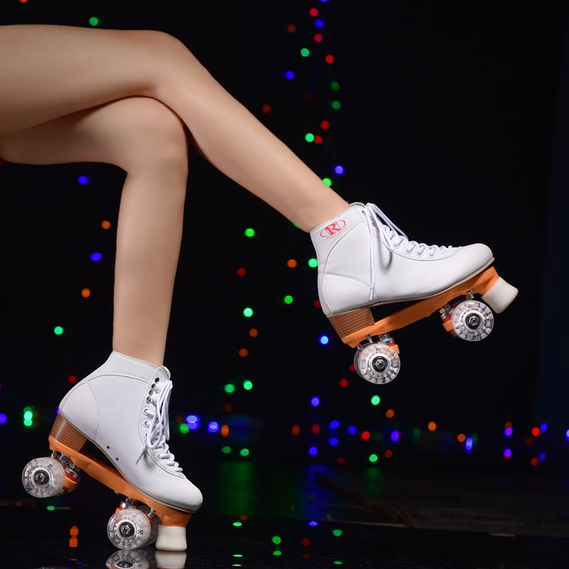Girls white double roller skates, pulley shoes 4 wheel shoes polyurethane  flashing wheels outdoor / indoor riding asphalt road