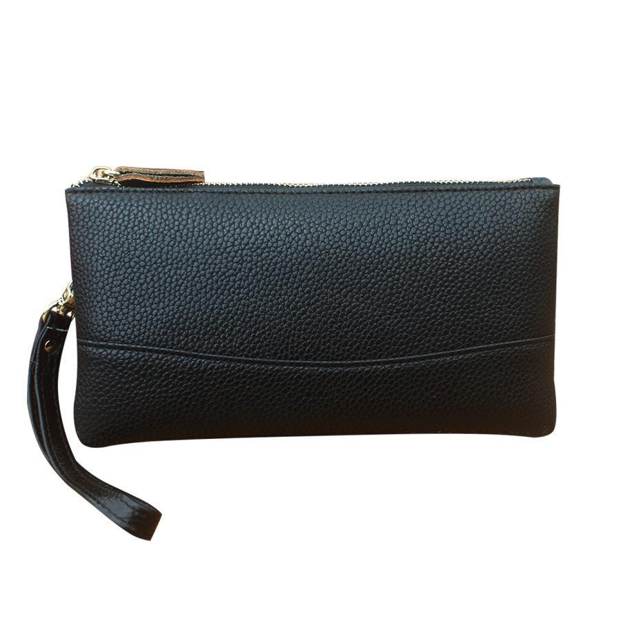 abd32a4aea95 2018 New Double Zipper Clutches Korean Fashion Coin Purse Leisure Key Bag  Large Capacity Mobile Phone Bag Leather Purse Wallets Beach Bags Designer  Bags ...