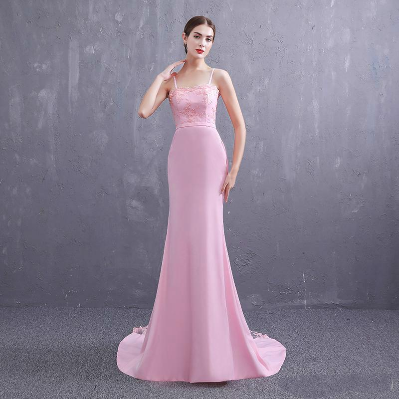 New Pattern 2019 Simple Pink Girl Strapless A Line Prom Dress Lace
