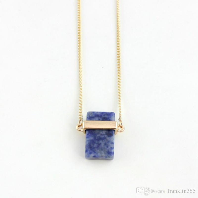 Natural Stone Pendant Necklace Rectangle Turquoise Pendants With 28 Inch Gold Plated Chain Fashion Jewelry