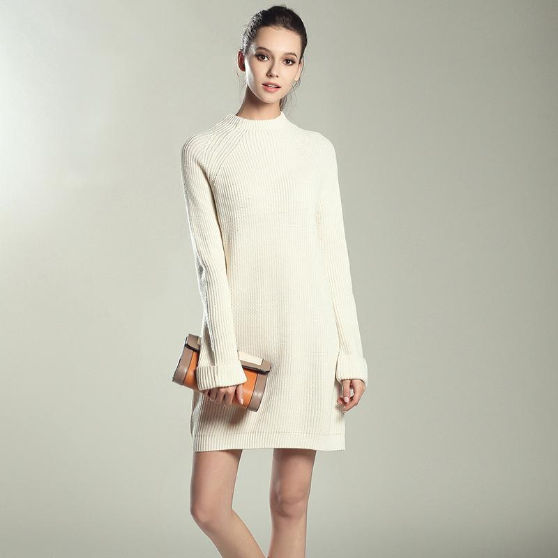 3b437ac3e1f High Quality Women Pullover Sweater Dresses Knitted Spring Autumn Mini Sexy  Dress Elastic Leisure Elegant Knitted Loose Solid Appreal Ladies Dress  Designer ...