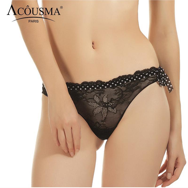 Acquista ACOUSMA Donna G String Pizzo Floreale Mutandine Vintage A Pois Sexy  T Trasparente Perizoma Posteriore Senza Giunte Biancheria Intima Femminile  Nero ... cd7371f5f008
