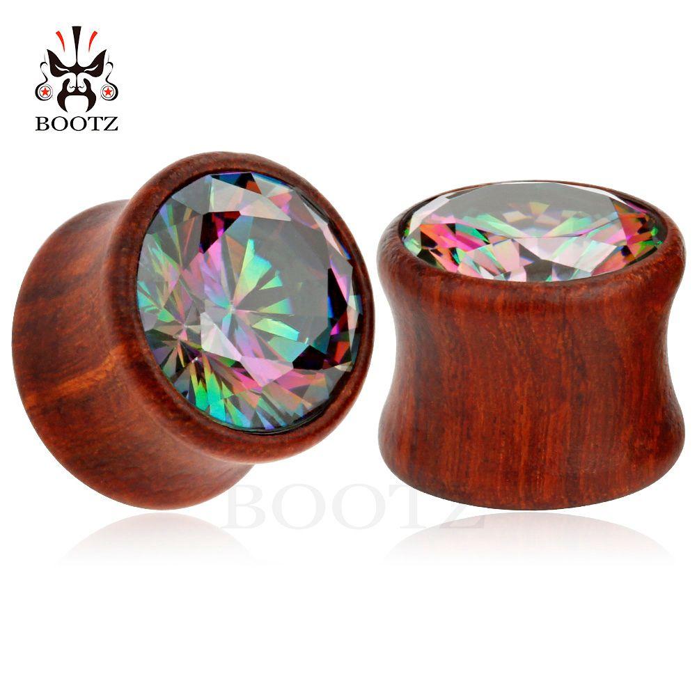 2018 nouvelle arrivée cristal piercing au bois jauges oreille tunnel branche corps bijoux fabrication fournisseur 8mm à 16mm