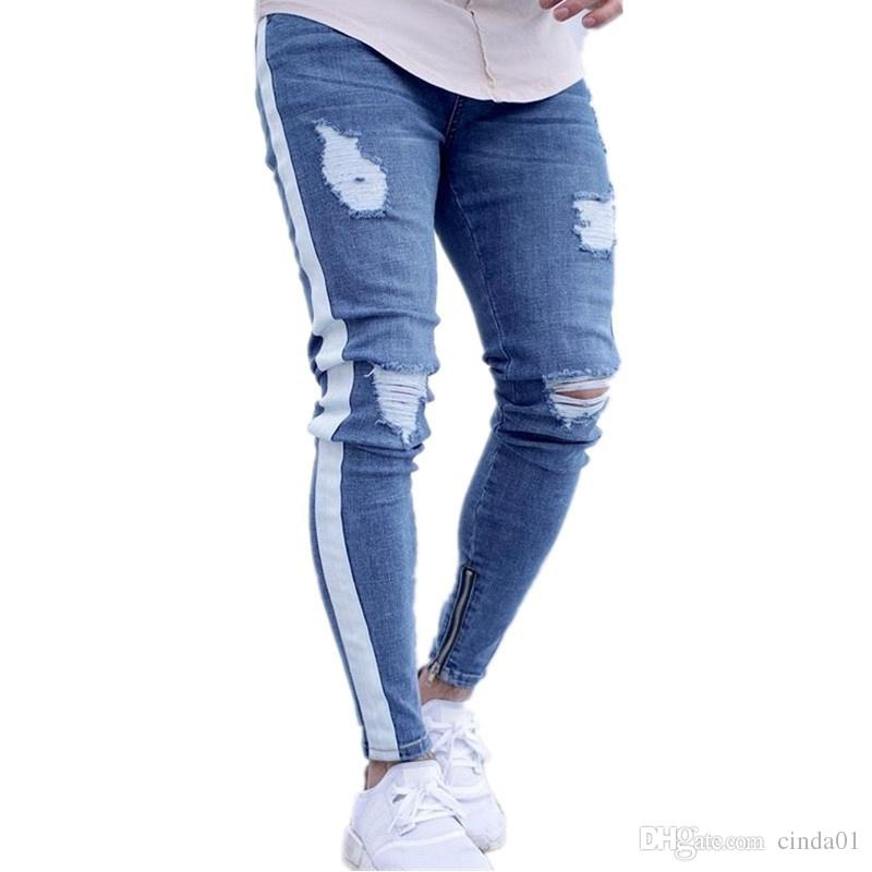2019 Mens Ripped Vintage Side Striped Pencil Pants Male Distrressed Slim  Fit Skinny Jeans With Holes From Cinda01 6469517f5