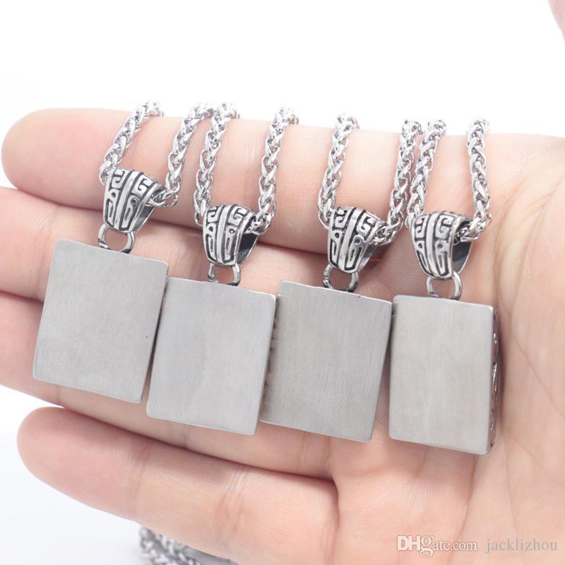 Colar de Aço inoxidável com Zircão Novos Produtos Das Mulheres Dos Homens de Pedra Pingente com quadrado Requintado Moda Jóias