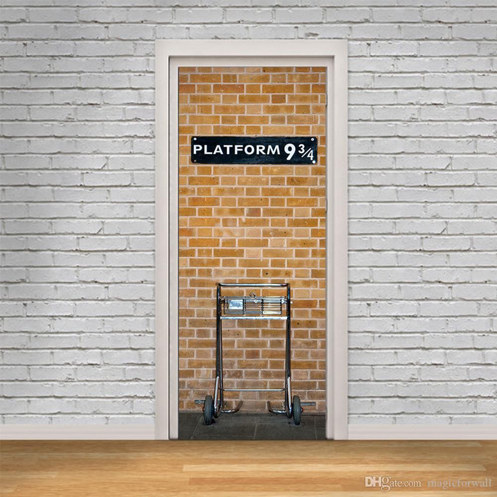 Brick Wall With White Door Frame Wall Stickers Home Decor Platform 934 Self Adhesive Wallpaper Mural Poster Renovate Door Wall Decals Cheap Wall