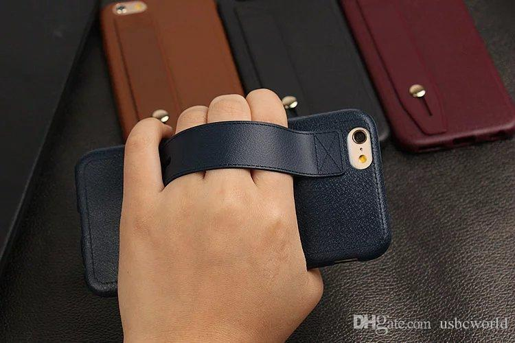Wrist Strap Mobile Shell With Phone Holder Leather Like Phone Case For IPhone X 8 7Plus 6S Anti Shock