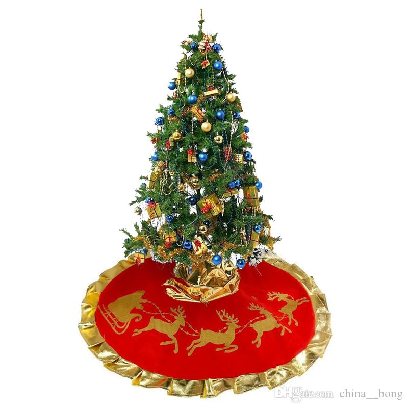 2018 Christmas Tree Skirt Diameter 90cm Santa Claus Deer Pattern New Year Christmas Trees Decor Xmas Party Decoration SD19