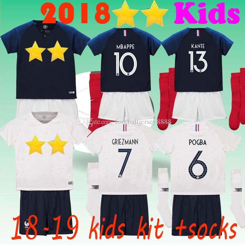 new style fe298 9284e 18 19 kids kit pogba soccer Jersey 2018 World Cup PAYET DEMBELE MBAPPE  GRIEZMANN KANTE Children football shirts