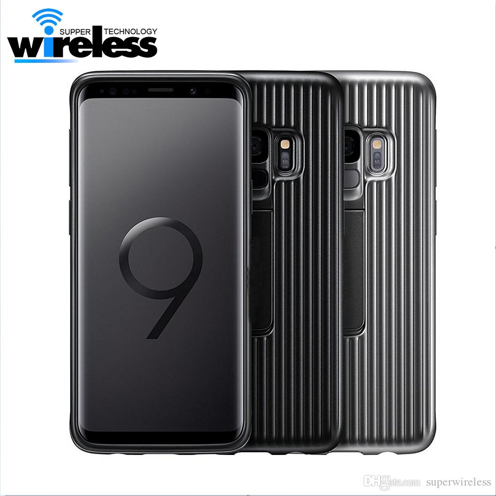 the latest d39b3 1b52f For Samsung Galaxy s9 plus S9 Case hard PC soft silicon Protective Cover  back Case Original phone holder Cover