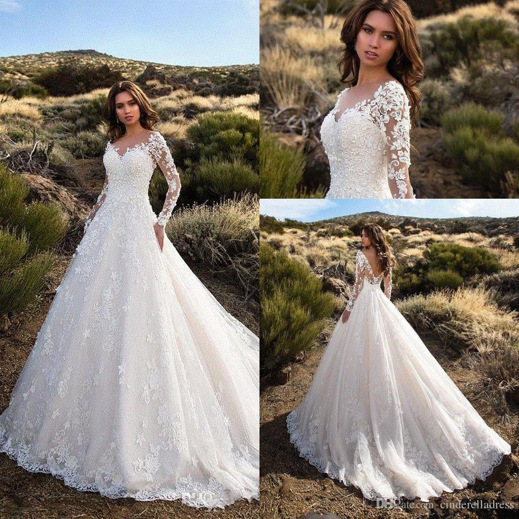 Modest Designer Wedding Dresses 2018 Rhinestone Appliques V Neck