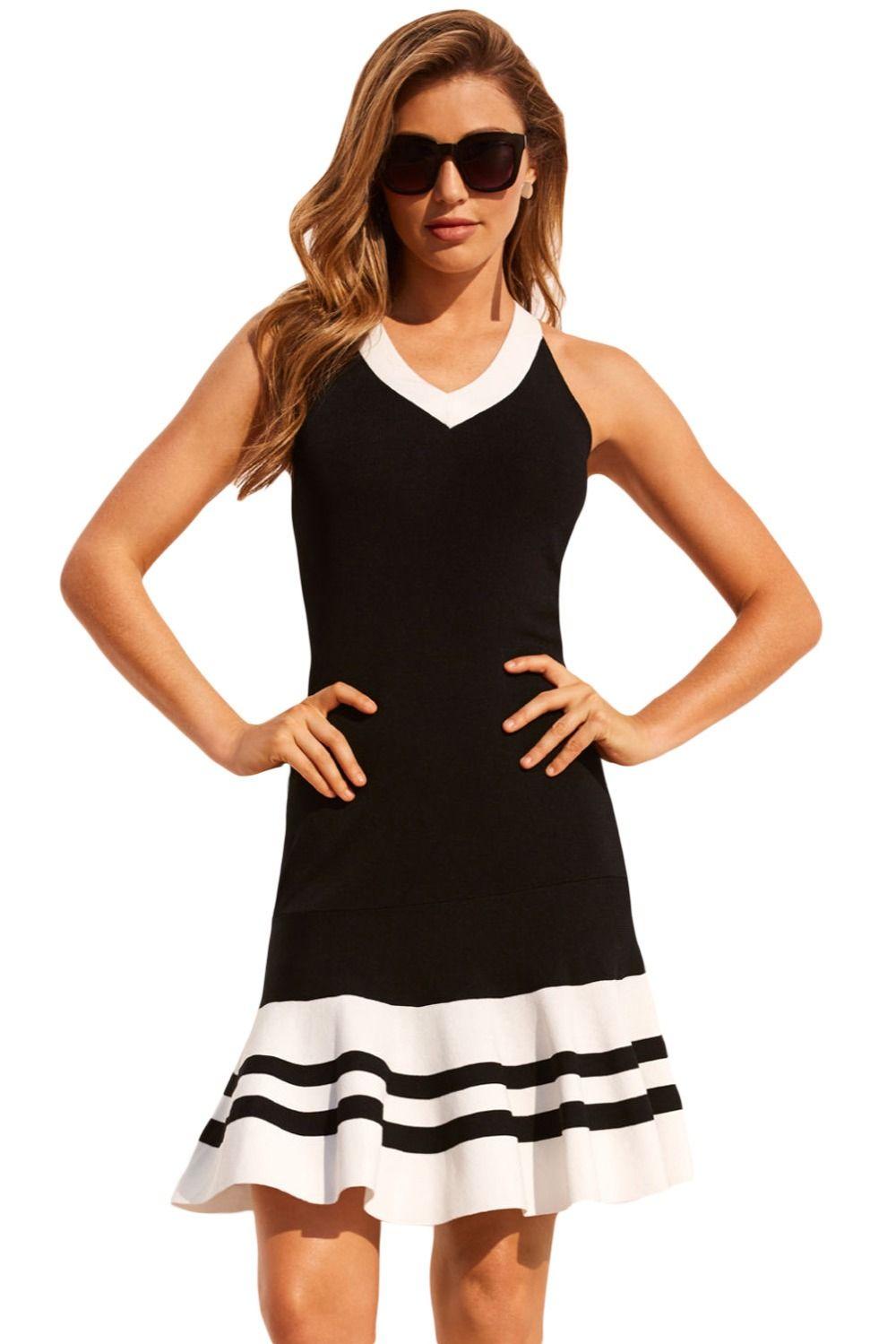b63642244dad Dear Lover Women Party Dresses Summer Burgundy Black White Cute Sleeveless  Ruffle Hem Crisscross Back Strap Mini Active Dress LC220373 Party Dresses  Sleeves ...