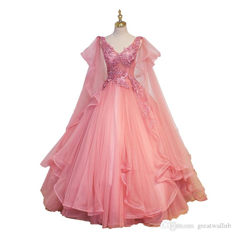 Cartoon Dressing Gown: Luxury Wave Sleeve Pink Fairy Embroidery Ball Gown