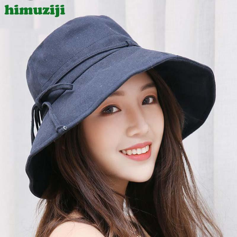 Summer Sun Hat Women Fashion Bow Design Floppy Cap Ladies Beach Bucket Hats  Female Cotton Foldable Chapeu Boater Hat Fascinator Hats From Playnice 2002e4be651b
