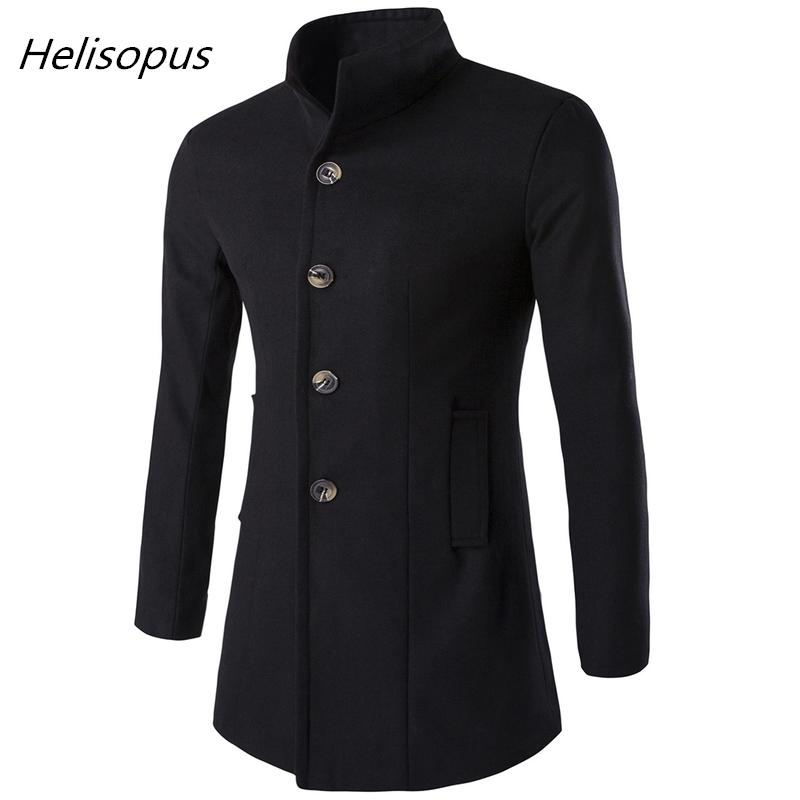 Helisopus Men Long Trench Coat Fashion Wool Jacket 2018 Autumn Winter Stand Collar Wool Blends Black Overcoat