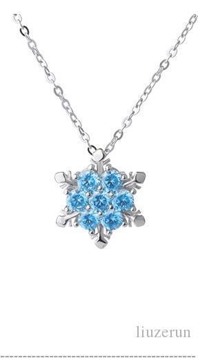Wholesale X24 Fashion Jewelry Shiny Blue Crystal Rhinestone Pendant  Necklace Beautiful Snowflake Flower Necklace For Women Wedding Jewelry  Silver Pendant ... 2868629261e4