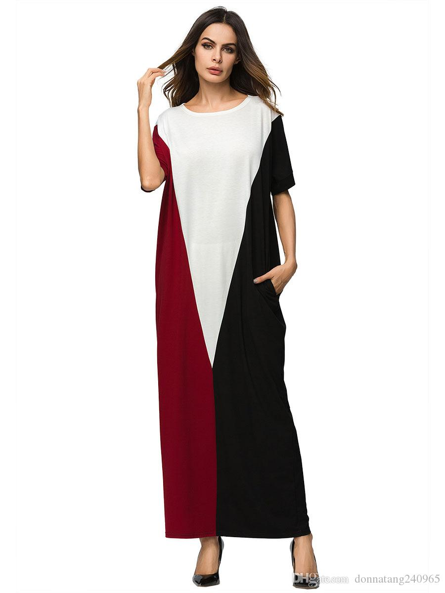 b8f2ba18b 2019 2018 Black White Red Panelled Style Abaya Short Bating Sleeve ...