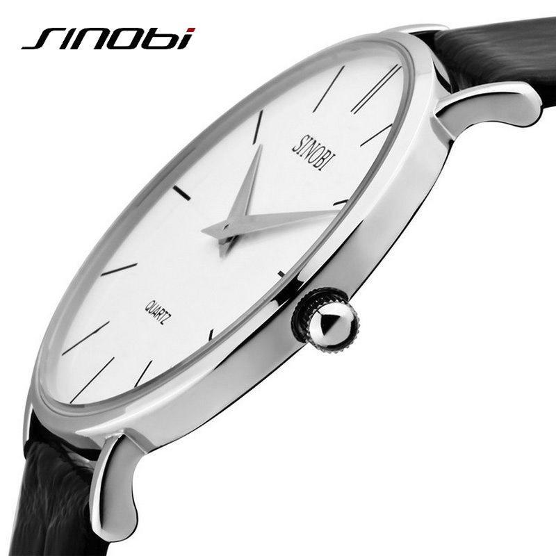 2336bbefbc6 Compre Super Slim Quartz Casuais Relógio De Pulso De Negócios JAPÃO SINOBI  Marca De Couro Relógio De Quartzo Analógico Moda Masculina Relojes Hombre  ...