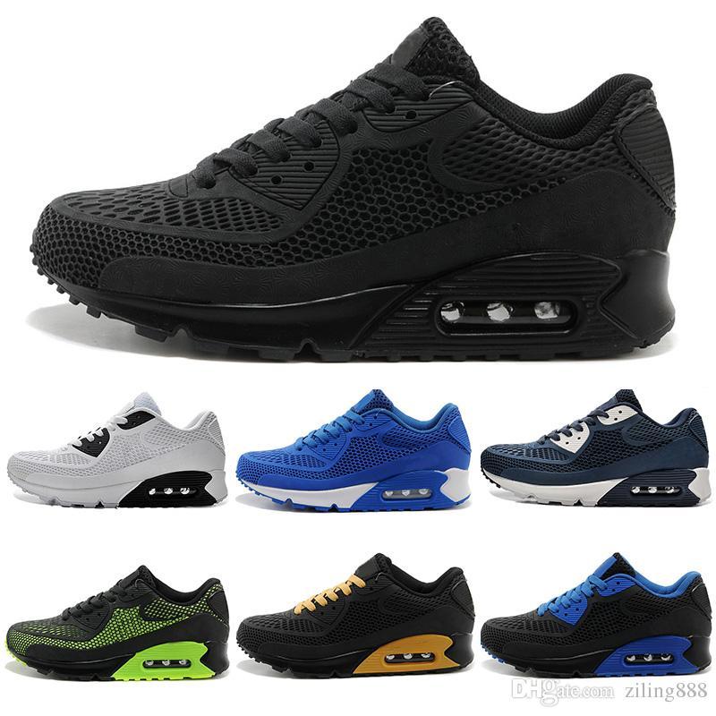 sale retailer 089a2 a9919 Acheter Air Max Airmax 90 KPU Hommes Sneakers Chaussures Classique 90  Hommes Chaussures De Course Noir Rouge Blanc Sport Entraîneur Coussin  Surface ...