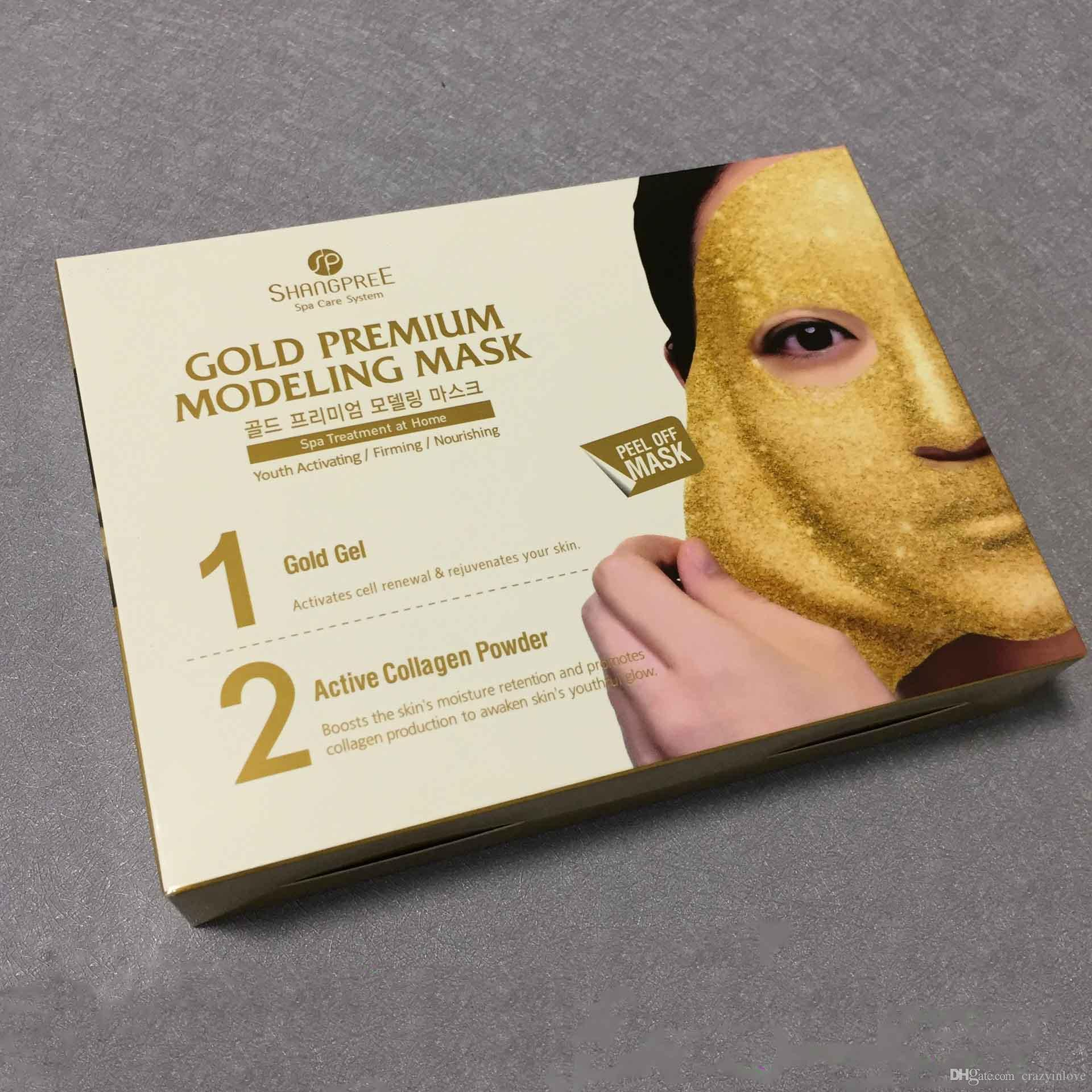 shangpree Hydrating Firming Renewal Gold Water Photoprotein Soft Film Moisturizing Facial Mask Korea Br Skin Care face makeup mask 1lot=5pcs