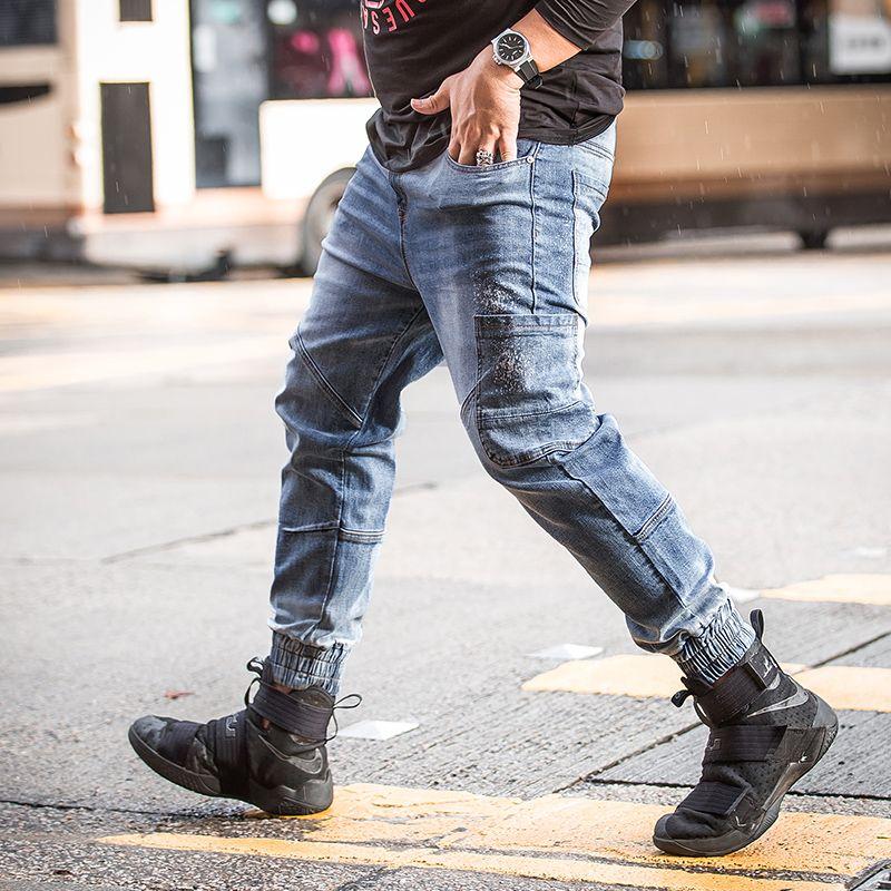 70e150f326 2019 2018 New Light Blue Ripped Jeans Men Denim Casual Famous Designer  Brand Slim Fit Jean Pants Pocket Biker Jeans Large Big Size 48 From Burtom,  ...