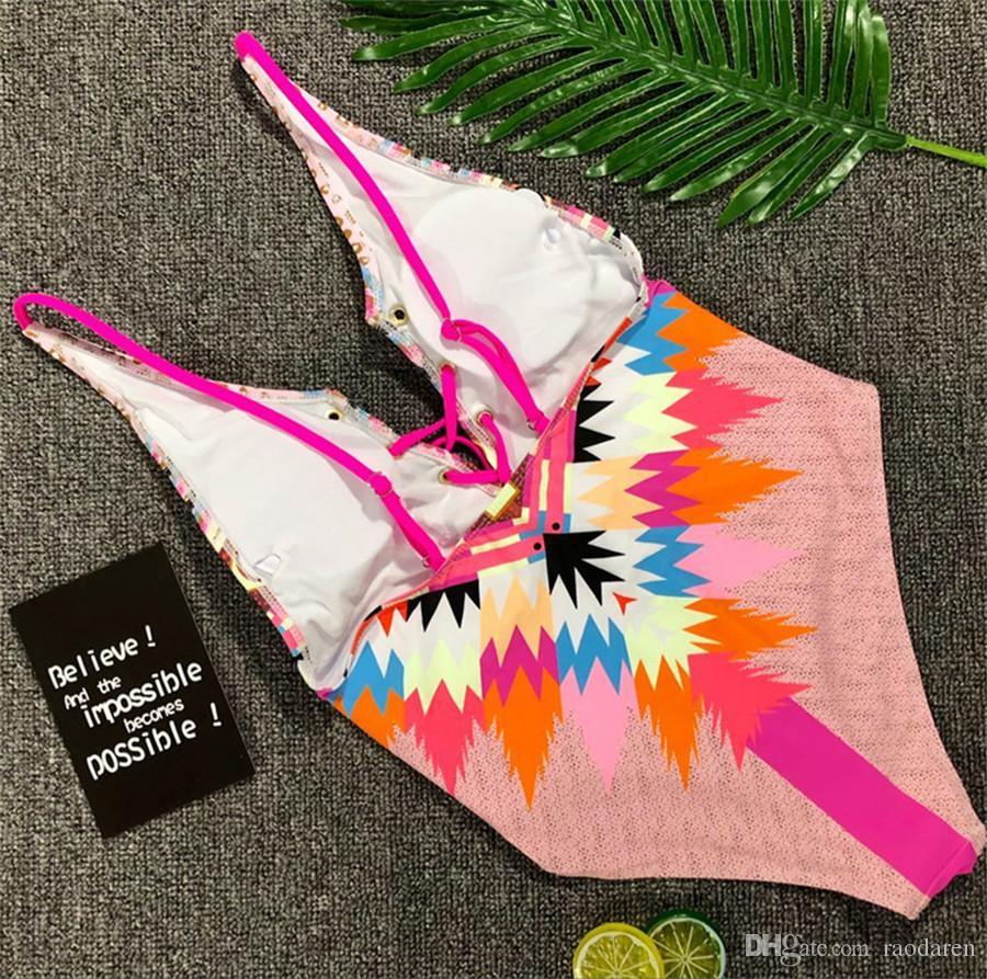 Women Swimwear 2018 Swimsuit Sexy Bikini One Piece Set Push Up Swimming Suit Beachwear Brazilian Print Lace Up High Waist With Pad