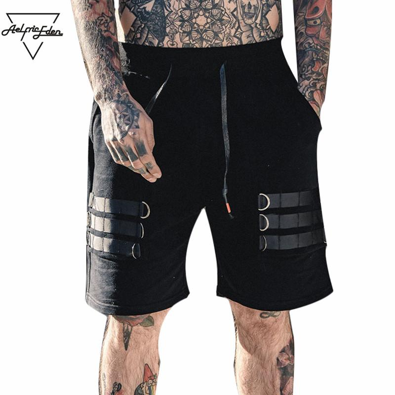 Aelfric Eden Cotton Casual Shorts Patch Iron Ring Skateboard Knee Length Harem Style Hip Hop Joggers Black Nightclub Wear OF049