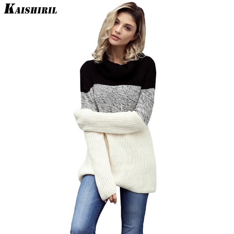 2018 Autumn Knitted Women Sweater Pullover Long Sleeve Sweaters Women Winter Warm Turtleneck Wool Jumper Patchwork Female Tops