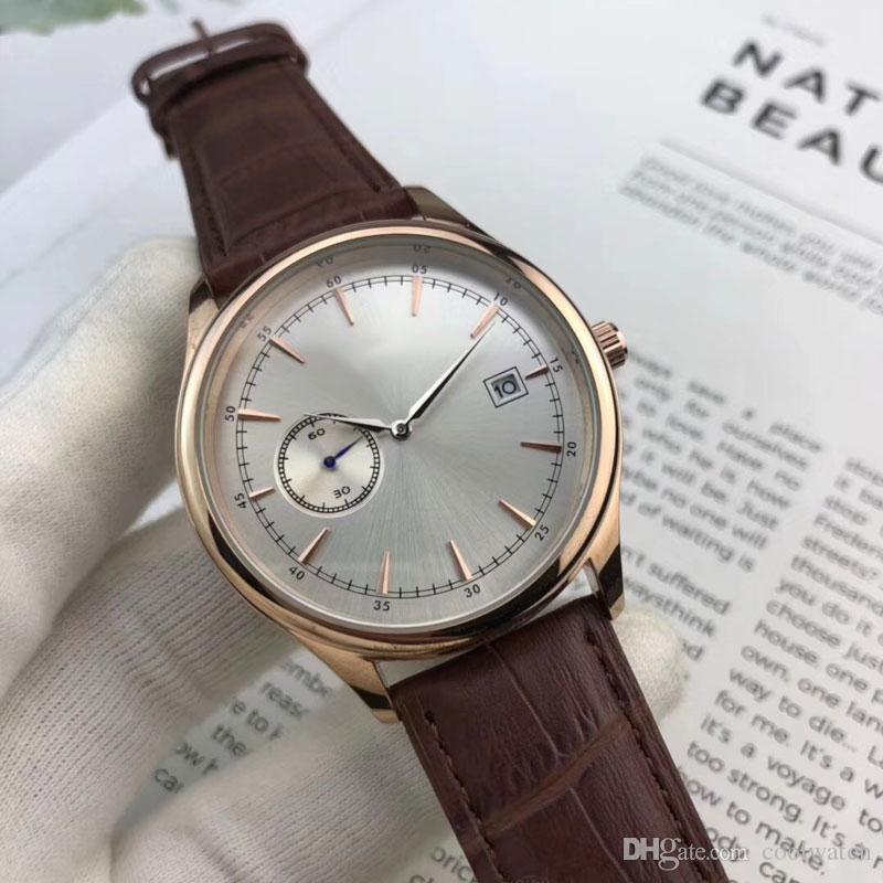 Reloj deportivo para hombre Reloj pequeño de lujo con correa de cuero, reloj automático de fecha, reloj de pulsera para hombre, mejor regalo de San Valentín, dropshipping