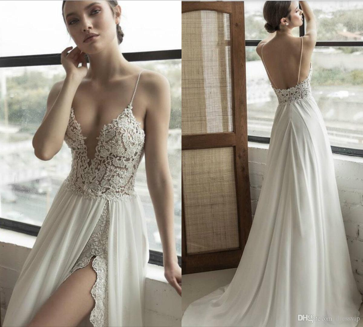 Discount 2019 Julie Vino Beach Wedding Dresses Side Split Spaghetti