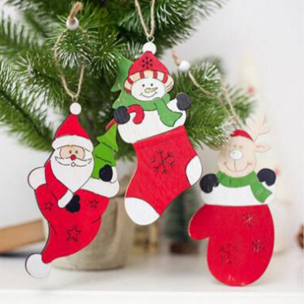 christmas wood decorations creative christmas tree decoration pendant painted santa elk snowman ornamentszy3 houses with christmas decorations images of
