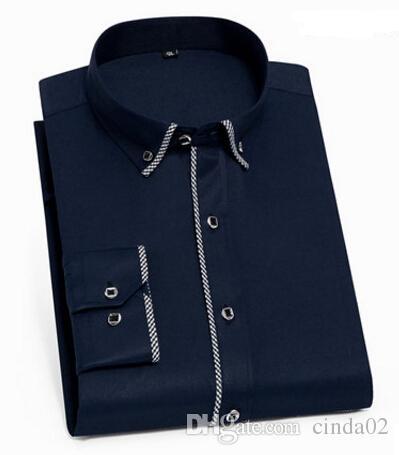 7d4eb68f39 Compre Camisas De Lujo Para Hombre Camisa De Vestir Para Hombre De Manga  Larga Camisa De Algodón Blanco Y Negro Camisa De Esmoquin Para Hombres  Tallas ...