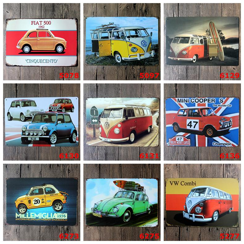2030cm Vintage Metal Tin Signs Wall Decor Autos Cars Iron Paintings