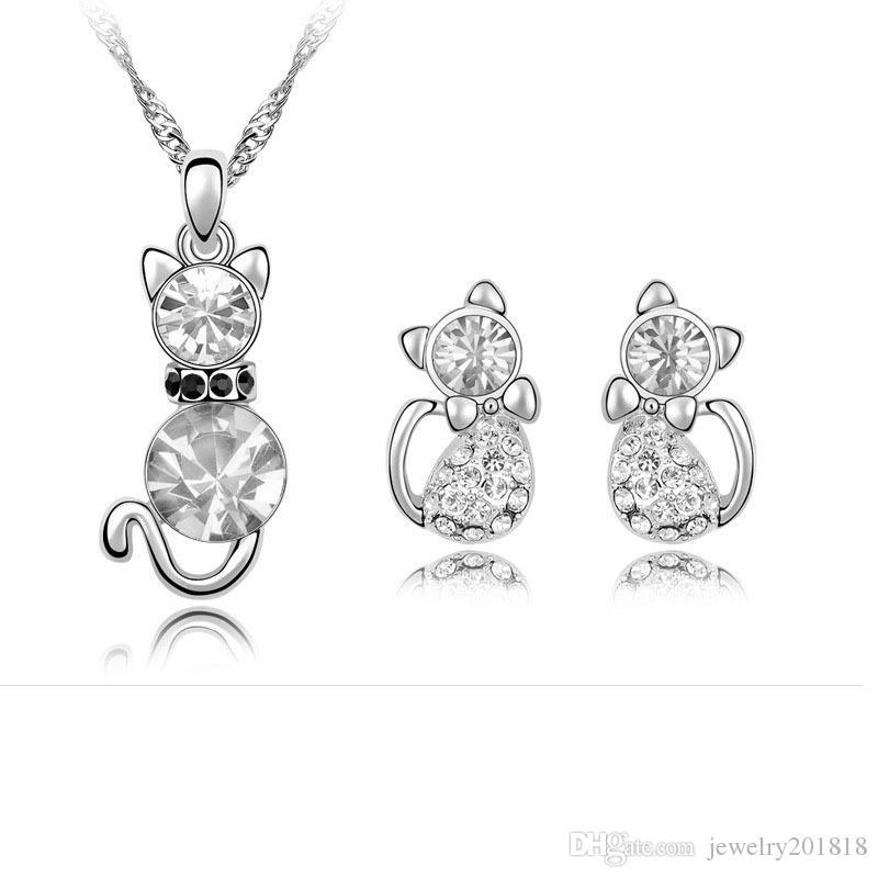 Fashion new Crystal Rhinestone Austrian crystal Cat necklace Earrings Ear Studs for women can choose