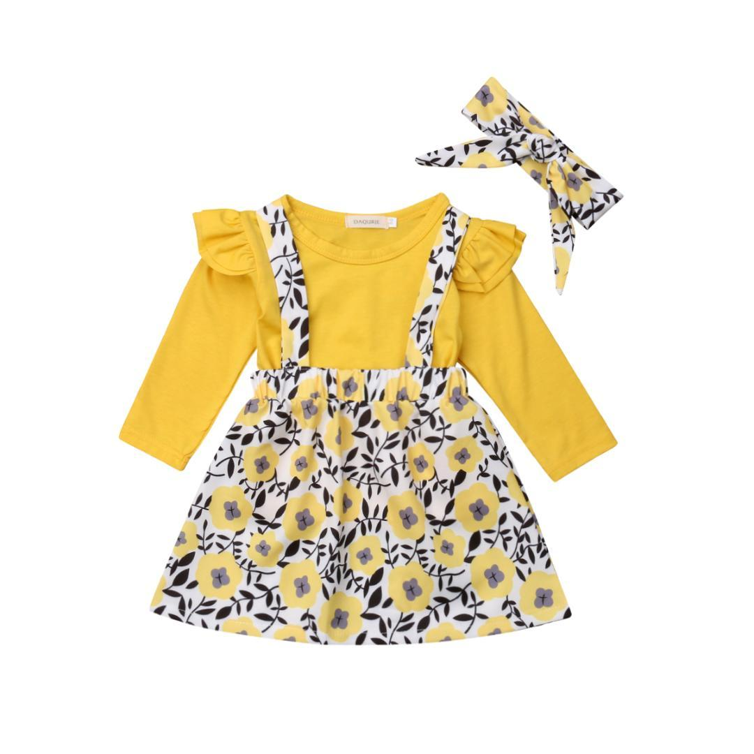 22acdbd9f 2019 1 6Y Toddler Kids Baby Girls Long Sleeve Ruffle Tops T Shirt Suspender  Floral Shorts Skirt Headband Outfits Baby Clothes Otufits From Wonderfulss,  ...