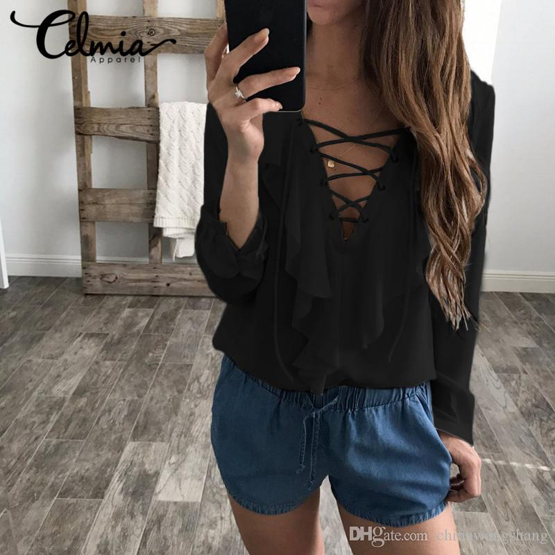 d793947455820 Sexy Top Women Chiffon Blouse2018 Celmia Summer Autumn Lace Up V Neck  Ruffles Long Sleeve Shirt Casual Big Size Blusa Feminina Blouses   Shirts  Shirt Women ...