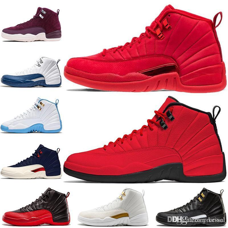 uk availability 810bd f7309 New 12 12s Bulls Gym Red Michigan Mens Basketball Shoes UNC taxi Nubuck  College Navy Flu Game french gamma blue Zapatos Sports sneakers