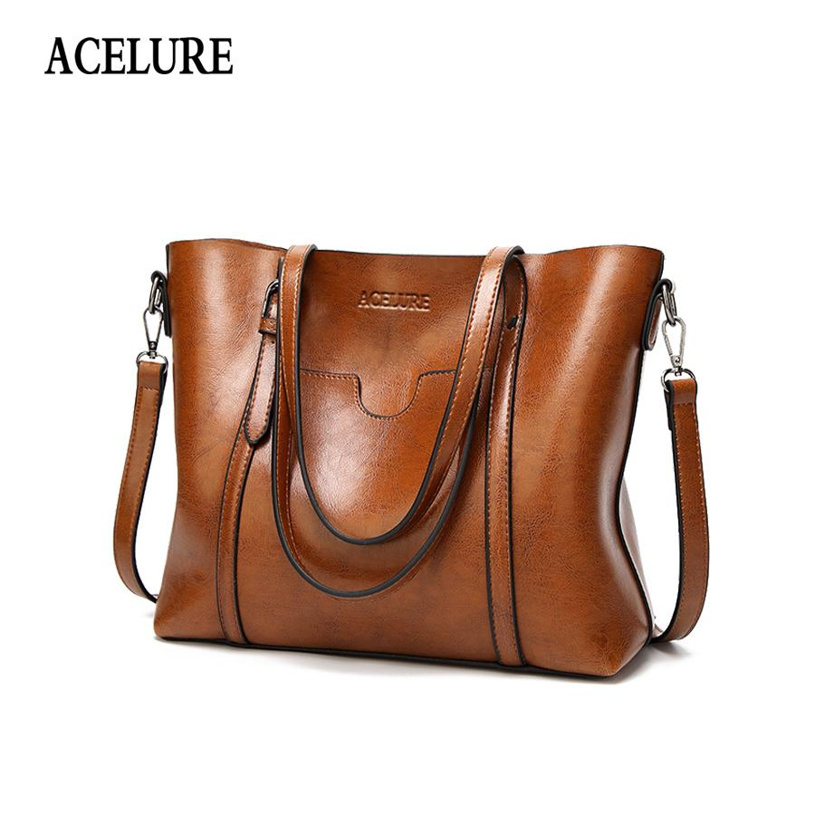 ACELURE Women Bag Oil Wax Women S Leather Handbags Luxury Lady Hand Bags  With Purse Pocket Women Messenger Bag Big Tote Sac Bols Y1891204 Fashion  Bags ... f024a13b70527
