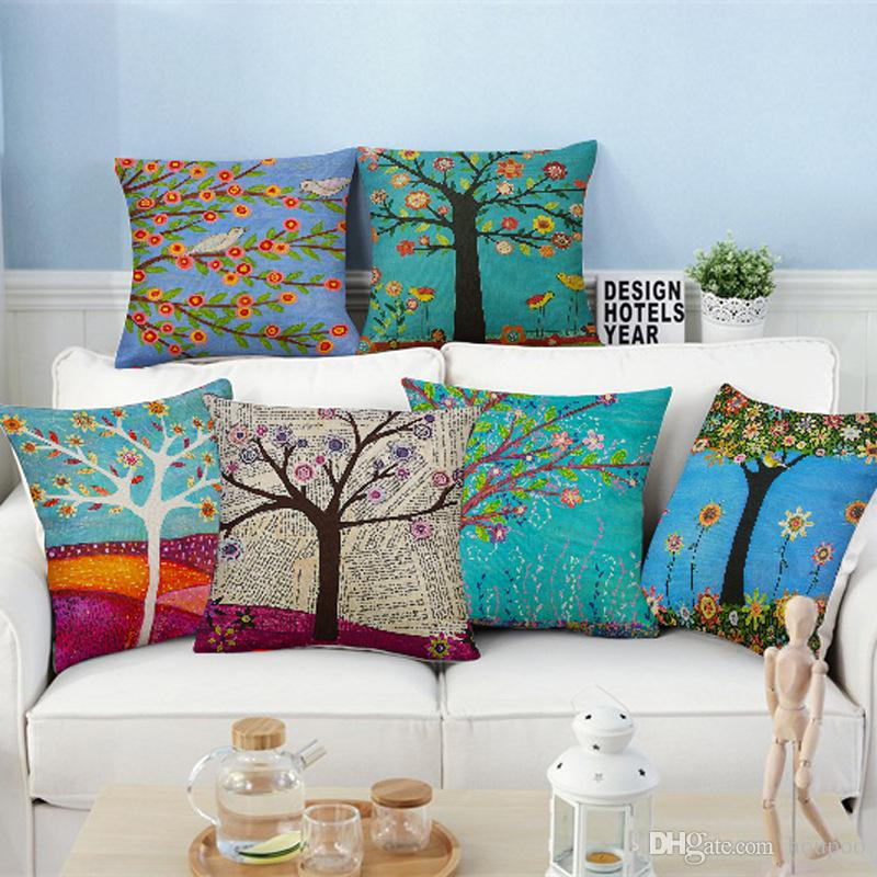 Wholesales 45 45cm Tree of Life Cushion Covers Linen Bedroom Seat ... d7d14d3b3a