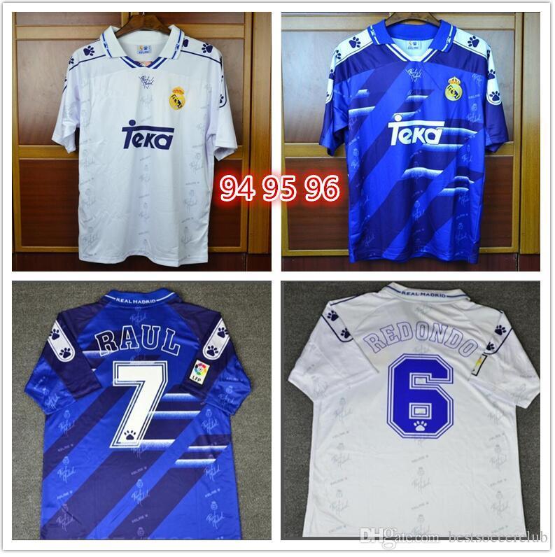 sale retailer b7f97 32b33 94 95 96 Retro Soccer Jersey Real Madrid 7 Raul 9 Zamorano 6 Redondo  Football Shirts 1994 1995 1996