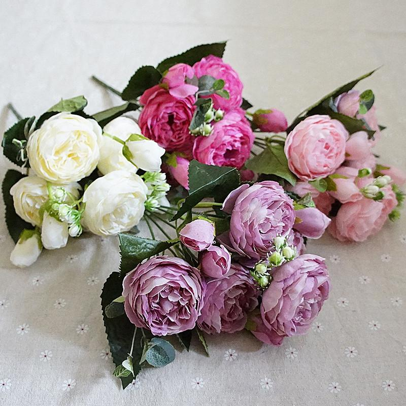 Beautiful Rose Peony Artificial Silk Flowers small bouquet flores home party spring wedding decoration mariage fake Flower