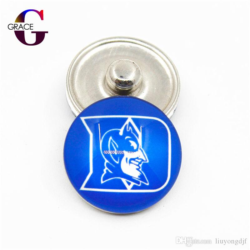 NCAA Duke Blue Devils Team Sports Charms Ginger Glass Snap Buttons Fit 18mm Snap Women Bracelet&Bangles Necklace DIY Jewelry