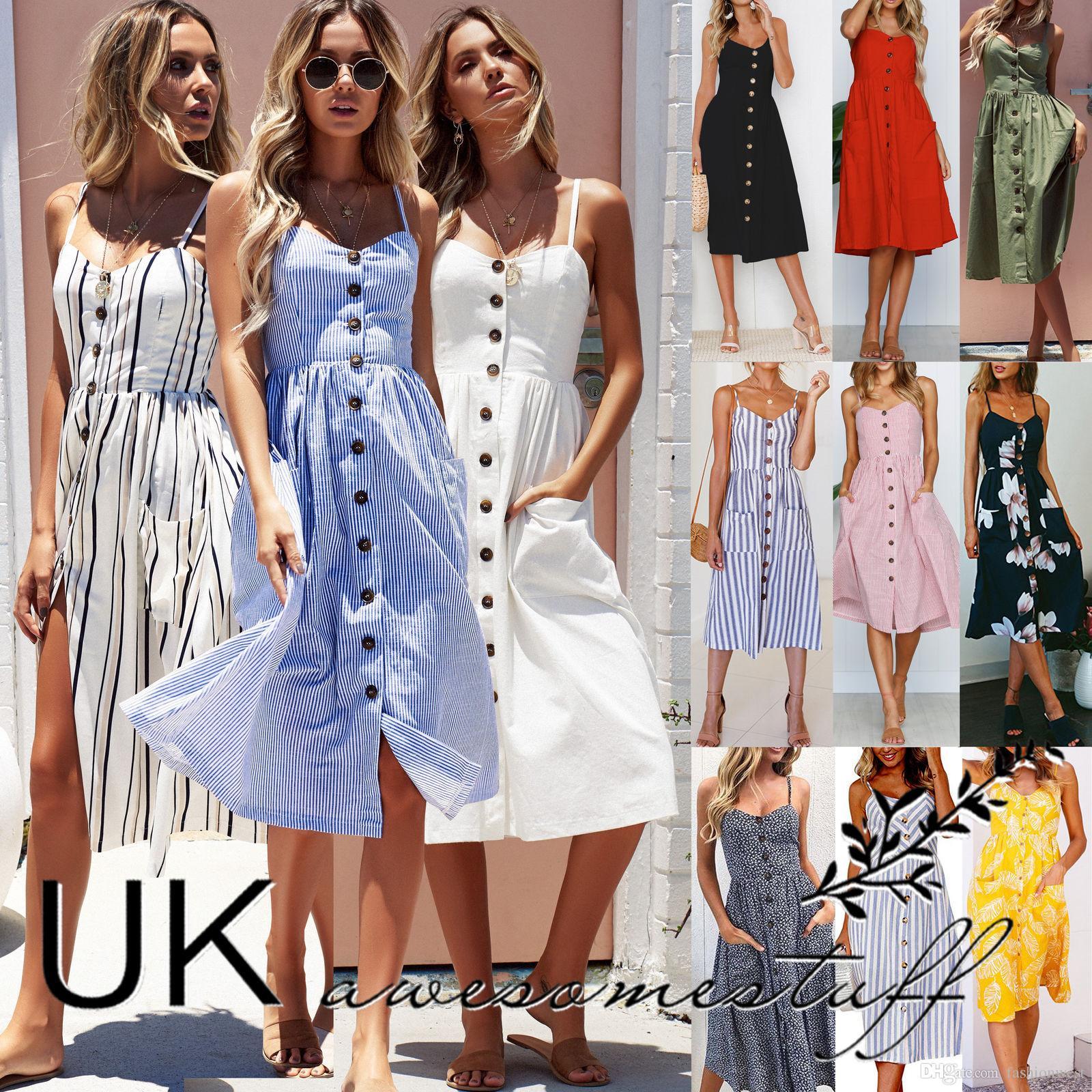5cd81f4dbc75 UK Womens Summer Holiday Beach Bardot Button Through Ladies Sun Dress Size 6  20 Purple Dresses Winter Dresses From Fashionwest, $13.36  DHgate.Com