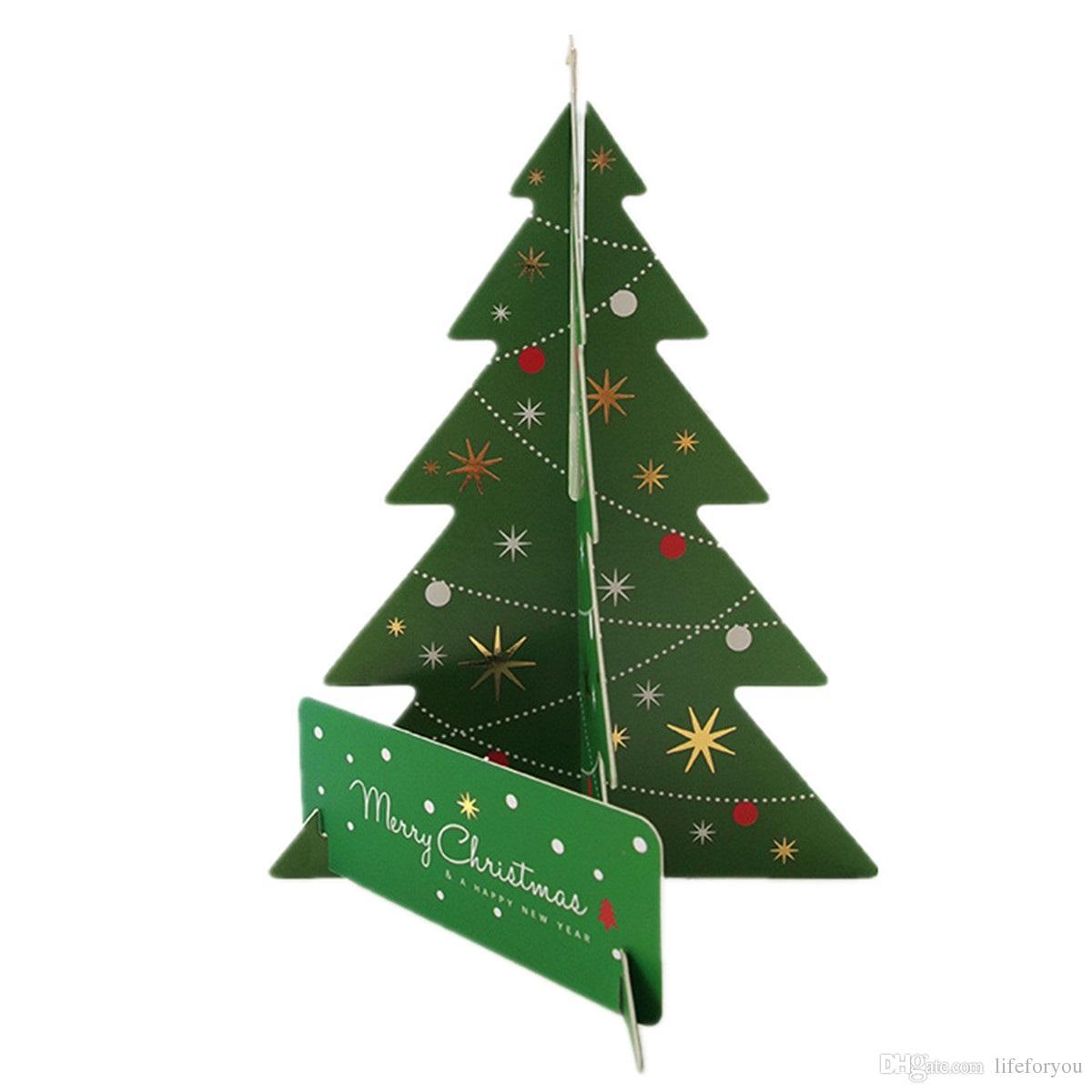 Biglietti Di Auguri Di Natale Per Bambini.Biglietto Di Auguri Albero Di Natale Verde Carta Regalo 3d Auguri Di Natale Bambini Felice Anno Nuovo Partito Forniture