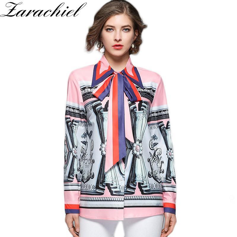 f10d5485eabba 2019 Fashion Runway Imitation Silk Print Blouses Shirt Women 2018 Spring  Autumn Long Sleeve Big Bowknot Turn Down Collar Blusas Top D18103104 From  Tai01