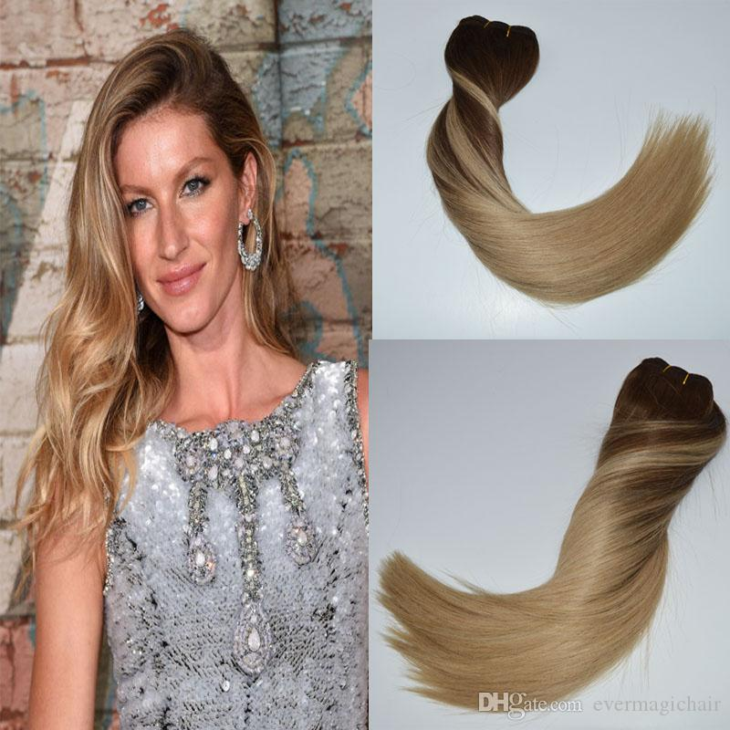 Ombre Human Hair Clip In Remi Hair Extensions Color Medium Brown To