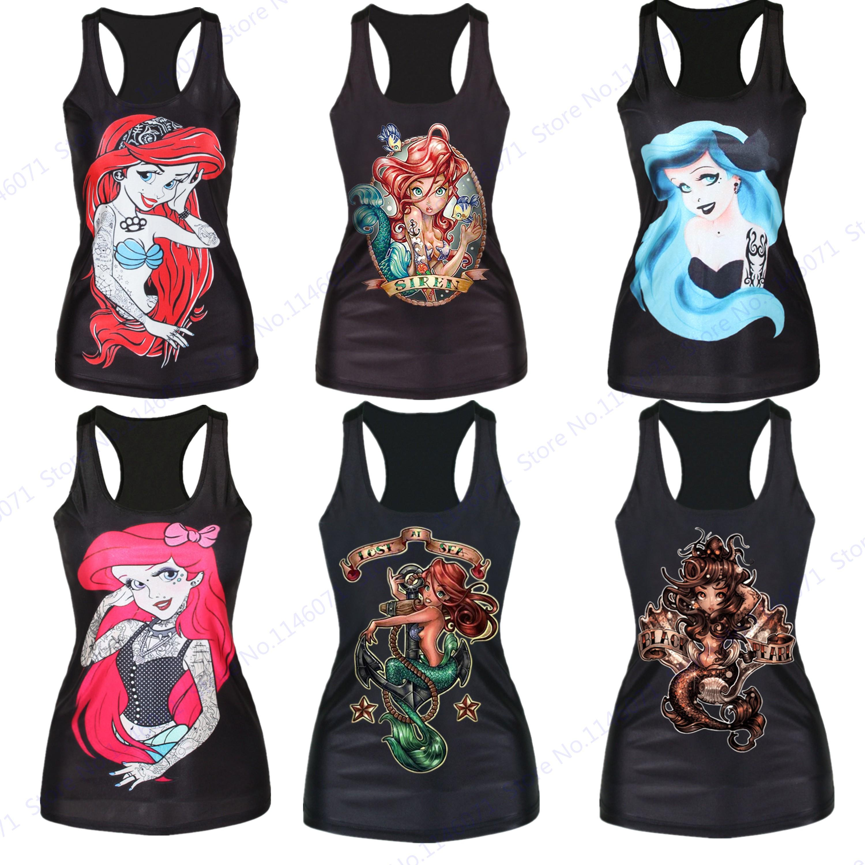 9b10c9263570f 2019 The Little Mermaid Gym Sports T Shirt Sexy Mermaid Fitness Yoga Shirts  Summer Black Sleeveless Running Tank Tops Women Loose Fit From Stem